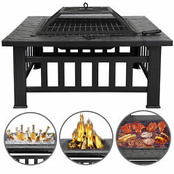 32quot; Square Fire Pit Outdoor Patio Metal Heater Deck Backyard Fireplace w Cover $71.99