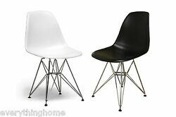 2x White or Black Eiffel Paris Dining Side Chairs Steel Wire Leg Base Commercial