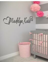 PERSONALIZED NAME HEARTS GIRLS Vinyl Wall Art Decal Kids Children Nursery Room $9.95