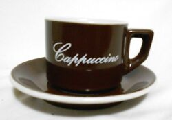 Four ACF Cappucino Brown and White Cup amp; Saucer Italian Ceramic Sets $33.47