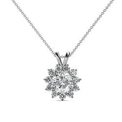 Diamond Floral Halo Pendant 1.33 Carat tw 14K Gold with 18 Inches Chain JP:77552