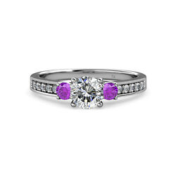 Diamond and Amethyst Three Stone Ring with Side Diamond 1.45 cttw in 14K Gold