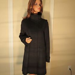 NWT WOMEN AUTH BURBERRY LONDON BLACK WOOL & CASHMERE HAXLEY COAT 1214 RUNS LRG