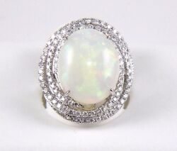 Fine Oval Fire Opal Solitaire Ring wDiamond Swirl Halo 14k White Gold 8.68Ct