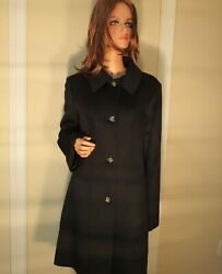 NWT WOMEN FLEURETTE BLACK 50% CASHMERE 50% WOOL CAR FITTED COAT JACKET 16 $995.0