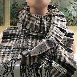 NWT WOMENS AUTHENTIC BURBERRY 100% CASHMERE BEAT CHECK CRINKLED SCARF