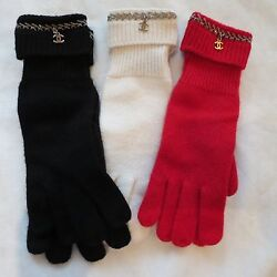 NWT AUTHENTIC CHANEL 100% CASHMERE GLOVES IN RED BLACK OR WHITECREAM ONE SIZE