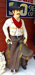 Life-Size Cowboy With Saddle Poly-Resin Fiberglass Statue Country Western Decor
