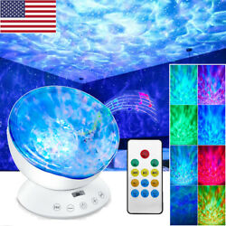 Rotating Ocean Wave Music Projector LED Bedroom Night Light Remote Lamp 7 Colors $21.99