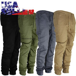 Mens Casual Pants Twill Joggers Hip Hop Elastic Jogger Slim Fit Stretch Trousers $19.99