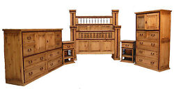 Honey Rustic King Hierro Bedroom Set with Iron Accents Cabin Real Wood Lodge