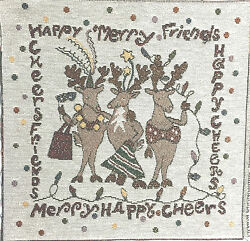 Tapestry Panel Decor Christmas Happy Merry Friends Reindeer Ladies 13