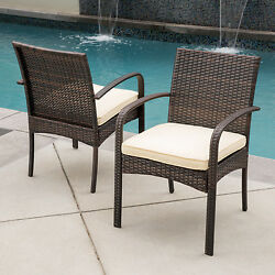 Wicker Dining Arm Chairs Set Of 2 With Cushions Outdoor Patio Furniture Brown