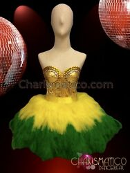 CHARISMATICO Pretty short dance dress in green and yellow shade $210.00
