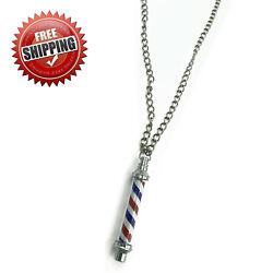 NEW CLASSIC BARBER POLE JEWELRY NECKLACE PENDANT WITH 27