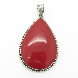 925 Sterling Silver Red Jasper Teardrop Cabochon Filigree Pendant (16g)