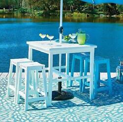 Summer Coastal Cottage White Outdoor Bar Height Dining Table Patio Furniture