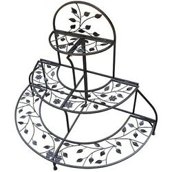 Plant Stand 3 Level Tier Indoor Outdoor Patio Garden Balcony Iron Steel Foldable