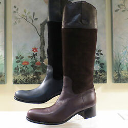 NWB AUTHENTIC PRADA MIU MIU LEATHER & SUEDE TALL ZIP BLACK OR BROWN BOOTS 40
