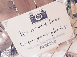 Vintage Rustic A3 Wedding Camera Instagram facebook twitter sign GBP 16.99