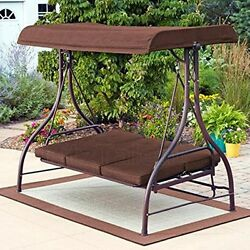 Brown Patio Porch Outdoor Swing Canopy Awning 3 Seat Bed Yard Furniture w Stand