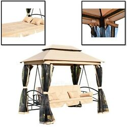 Outdoor Patio Swing Canopy Gazebo 3 Person Daybed Porch Hammock Garden Furniture