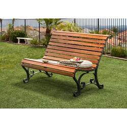 Cast Modern Iron and Hardwood Slatted Outdoor Garden Bench Curved Seat a