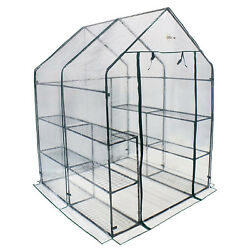 Greenhouse Solar Walk In 6 Tier 12 Shelf Gardening Outdoor Plastic Cover Clear