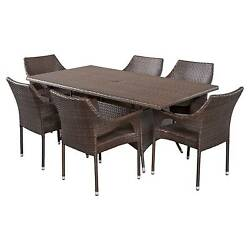 Sinclair 7pc Wicker Patio Dining Set - Brown - Christopher Knight Home