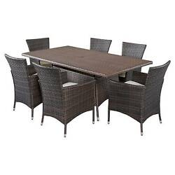 Jennifer 7pc Wicker Patio Dining Set with Cushions - Brown - Christopher Knig...