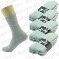 Gray 3 6 9 12 Pairs Ankle Quarter Crew Mens Socks Cotton Long Size 10 13 Sports $4.99