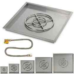 American Fireglass Square Drop-In Fire Pit Pan & Burner Ring Match Lit Kit