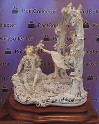 Capodimonte Lorenzon Italy Porcelain Figural Decor Plateau Table Girl on A Swing