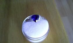 Lab Created Blue  Sapphire Solitaire w Diamond Accents Ring  FREE SHIPPING