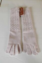 $650 Loro Piana Pink Baby Cashmere Long Gloves Knit New size Medium Cable Mitten