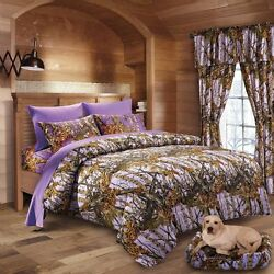 LAVENDER QUEEN SIZE 17PC SET WOODS CAMO COMFORTER SHEET SET CAMOUFLAGE BEDDING
