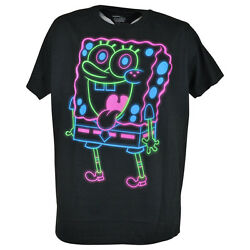 Sponge Bob Squarepants Authentic Nickelodeon Neon Graphic Tee Men Novelty Black $17.20
