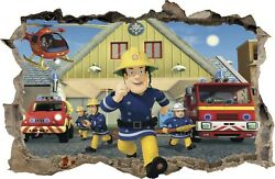 WALL STICKERS HOLE IN THE WALL 3D Firefighter FIREMAN SAM sticker to the room 47 GBP 9.99