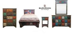 Rustic Western Queen Size ARCO Multi Color 5 PC Bedroom Set Real Wood
