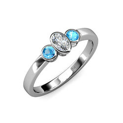 0.82 ct tw Blue Topaz With Center Diamond Three Stone Ring in 14K Gold JP:104213