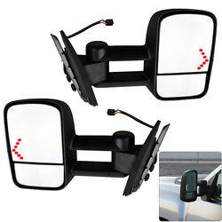 Pair Power LED Signal Towing Mirrors for 07-13 Chevy Silverado 150025002500HD