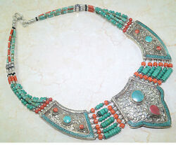 STUNNING SANTA ROSA TURQUOISE & RED CORAL TRIBAL SILVER NECKLACE 18 12