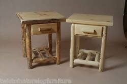 Log end table night stand