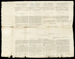 JAMES MADISON - FOUR LANGUAGE SHIPS PAPERS SIGNED 12151812 WITH CO-SIGNERS