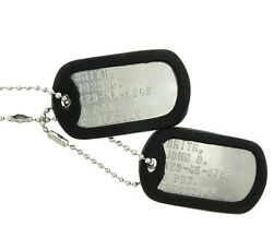 Custom Embossed Military Issue Stainless Steel Army Navy USMC AF ID Dog Tags Set $8.95