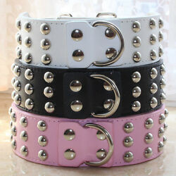 3 Row Spiked Studded Leather Pet Dog Collar M L XL for Large Dog Pitbull Terrier $13.99
