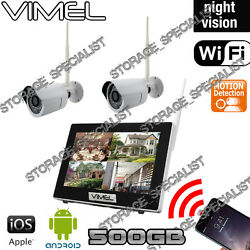Wireless Security Cameras IP System House Home Farm Alarm Night Visio 2Cam 500GB AU $349.00