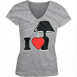 I Love Lamp Heart lt;3 Light You Quote Silly Crazy Like Fun Juniors V Neck T Shirt $15.16