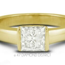 1.54ct. E-VS2 Ex Princess Certify Diamond 18K Gold Tension Engagement Ring 3.4gm