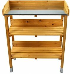 Outdoor Wooden Garden Potting Bench Work Station Table Storage Shelf Yard Tool
